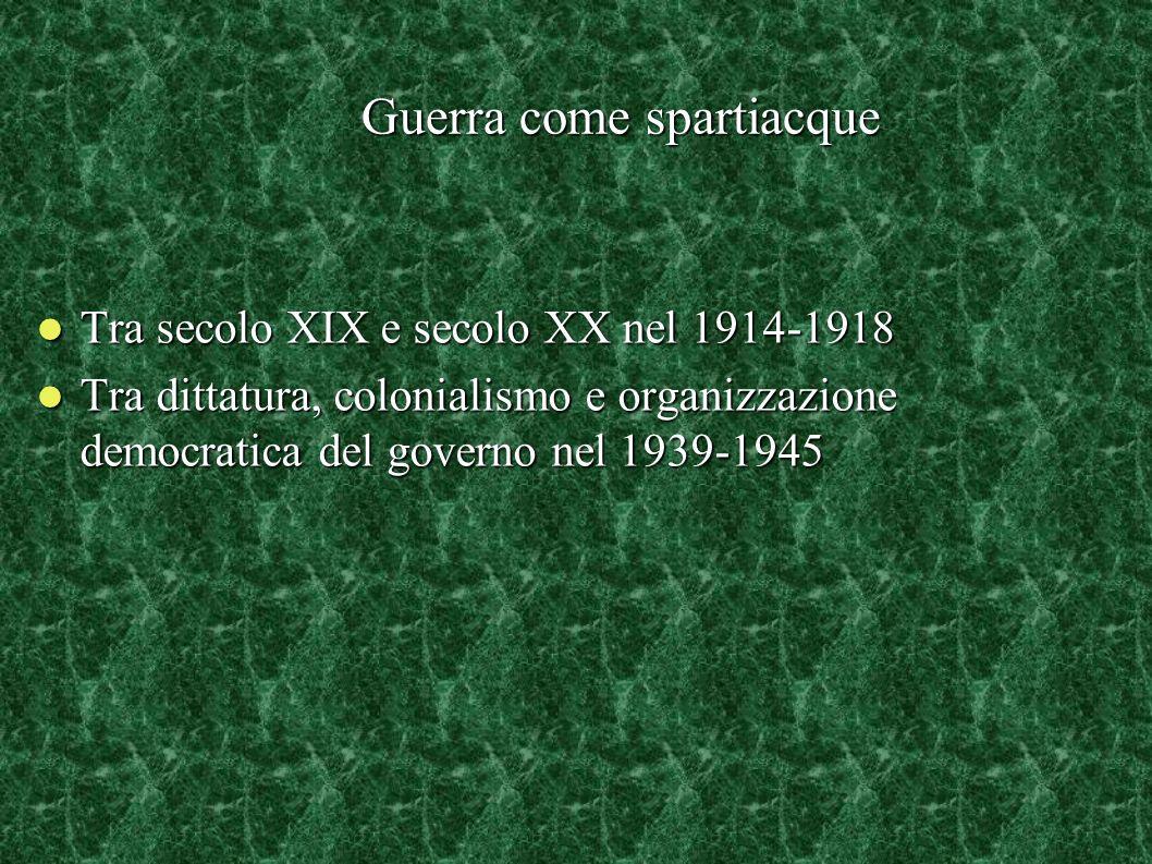 Guerra come spartiacque Tra secolo XIX e secolo XX nel 1914-1918 Tra secolo XIX e secolo XX nel 1914-1918 Tra dittatura, colonialismo e organizzazione