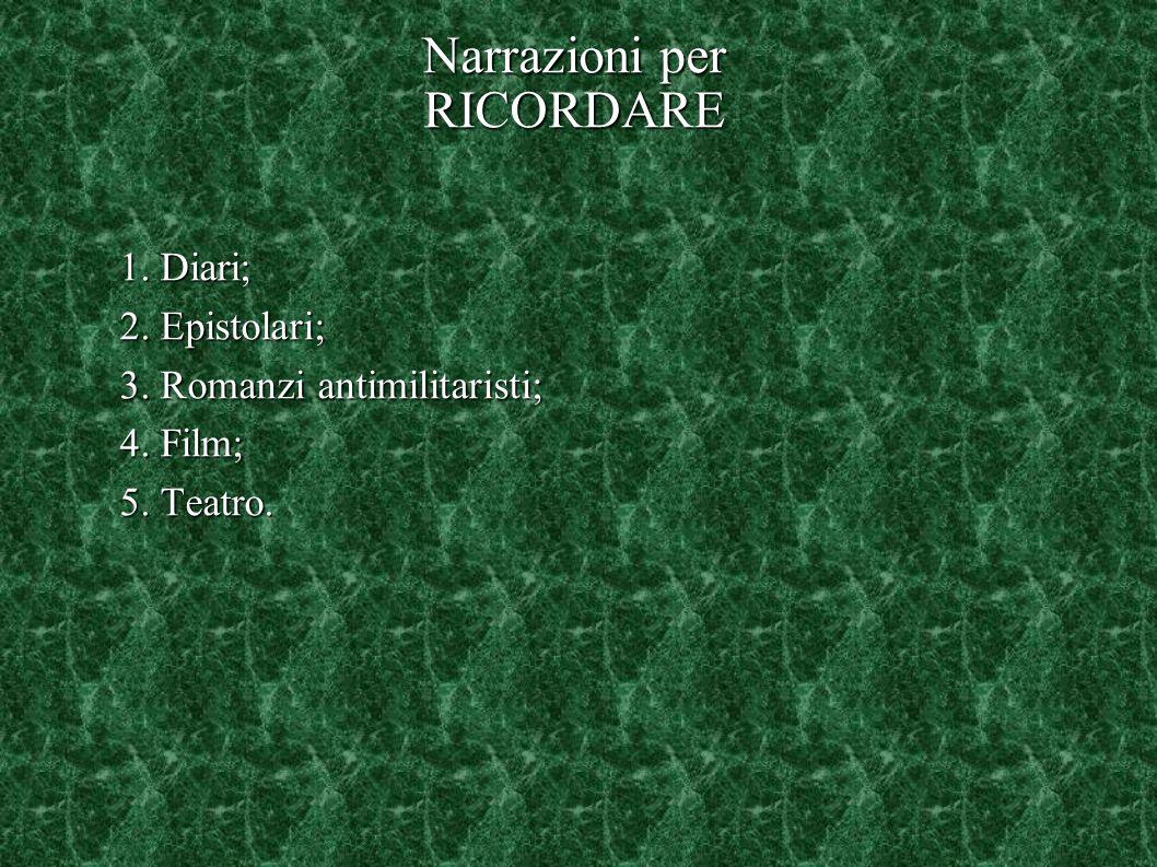 Narrazioni per RICORDARE 1. Diari; 2. Epistolari; 3. Romanzi antimilitaristi; 4. Film; 5. Teatro.