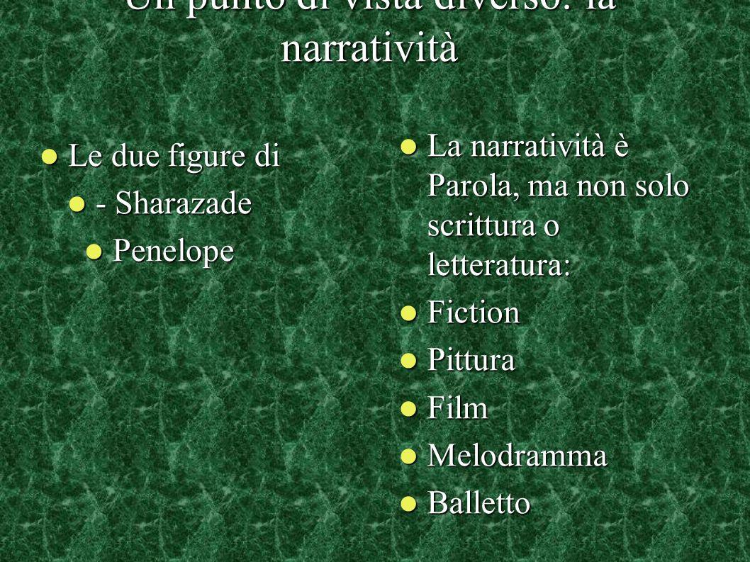 Un punto di vista diverso: la narratività Le due figure di Le due figure di - Sharazade - Sharazade Penelope Penelope La narratività è Parola, ma non