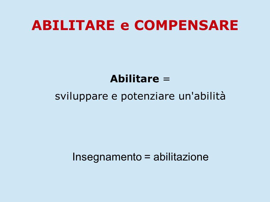 ABILITARE e COMPENSARE Abilitare = sviluppare e potenziare un'abilità Insegnamento = abilitazione