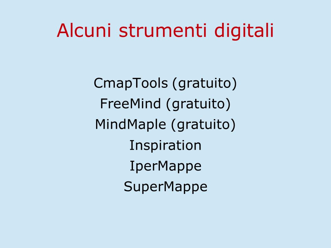 Alcuni strumenti digitali CmapTools (gratuito) FreeMind (gratuito) MindMaple (gratuito) Inspiration IperMappe SuperMappe