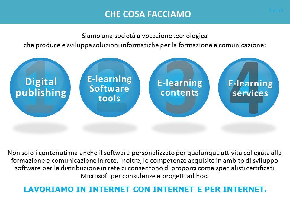 CHE COSA FACCIAMO Non solo i contenuti ma anche il software personalizzato per qualunque attività collegata alla formazione e comunicazione in rete. I