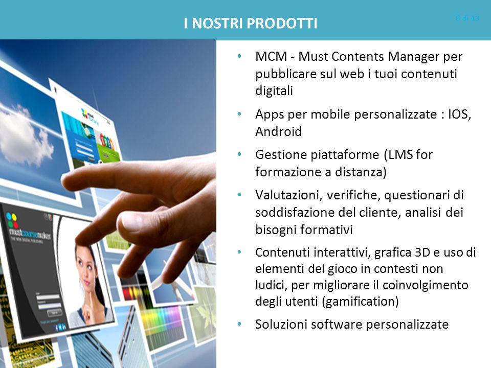 I NOSTRI PRODOTTI MCM - Must Contents Manager per pubblicare sul web i tuoi contenuti digitali Apps per mobile personalizzate : IOS, Android Gestione