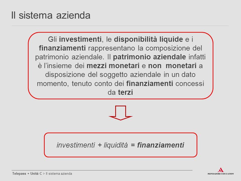 Gli investimenti, le disponibilità liquide e i finanziamenti rappresentano la composizione del patrimonio aziendale. Il patrimonio aziendale infatti è