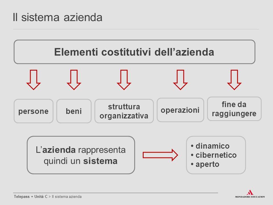 personebeni struttura organizzativa operazioni fine da raggiungere L'azienda rappresenta quindi un sistema dinamico cibernetico aperto Elementi costit