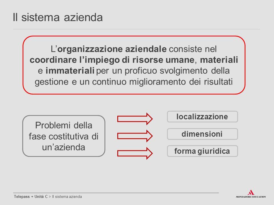 Problemi della fase costitutiva di un'azienda localizzazione forma giuridica dimensioni L'organizzazione aziendale consiste nel coordinare l'impiego d