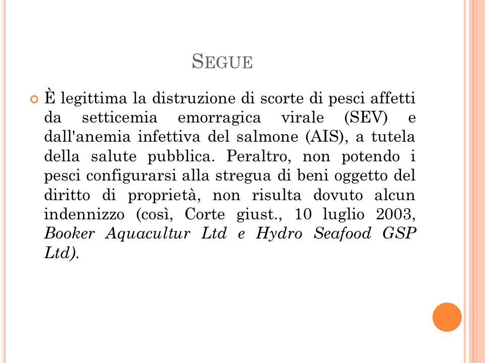 S EGUE È legittima la distruzione di scorte di pesci affetti da setticemia emorragica virale (SEV) e dall anemia infettiva del salmone (AIS), a tutela della salute pubblica.