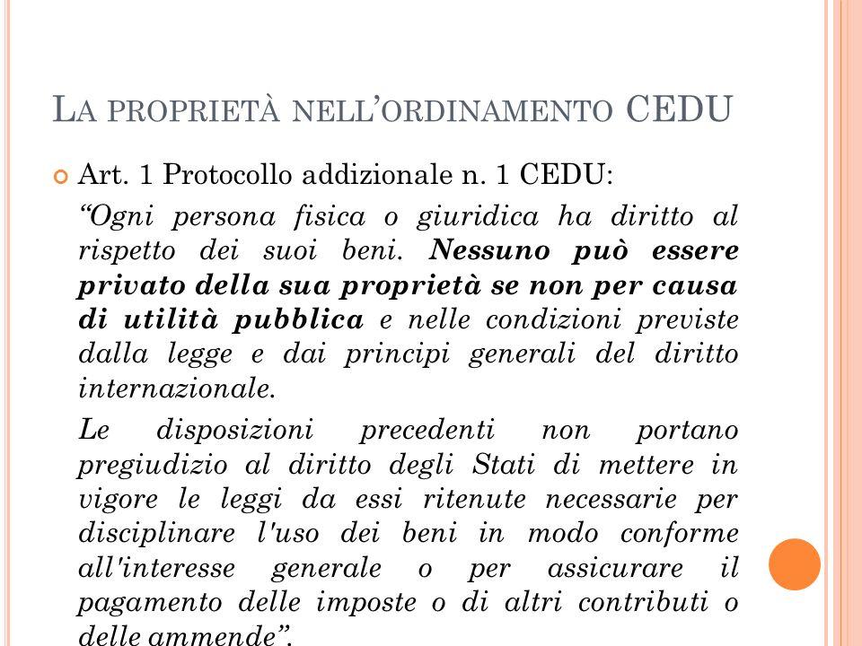 L A PROPRIETÀ NELL ' ORDINAMENTO CEDU Art.1 Protocollo addizionale n.