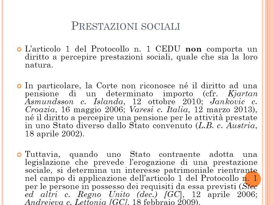 P RESTAZIONI SOCIALI L'articolo 1 del Protocollo n.
