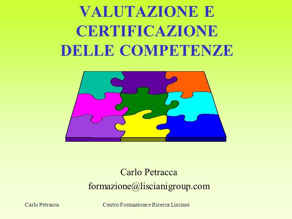 VALUTAZIONE E CERTIFICAZIONE DELLE COMPETENZE Carlo Petracca formazione@liscianigroup.com Centro Formazione e Ricerca LiscianiCarlo Petracca