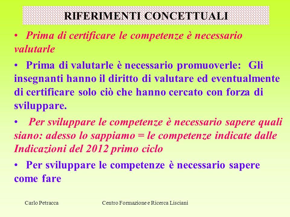 RIFERIMENTI CONCETTUALI Prima di certificare le competenze è necessario valutarle Prima di valutarle è necessario promuoverle: Gli insegnanti hanno il