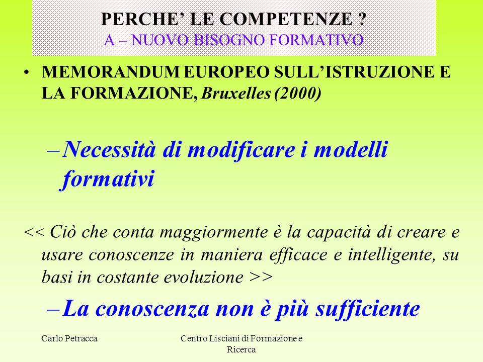 Carlo PetraccaCentro Lisciani di Formazione e Ricerca PERCHE' LE COMPETENZE .