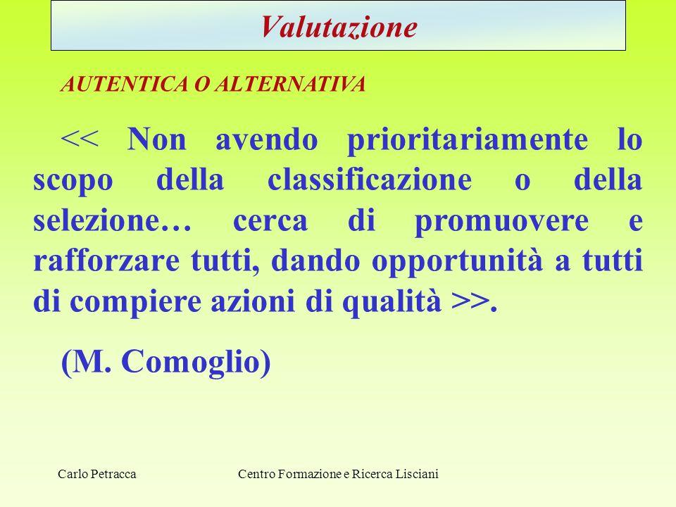 Centro Formazione e Ricerca Lisciani Valutazione AUTENTICA O ALTERNATIVA >. (M. Comoglio) Carlo Petracca