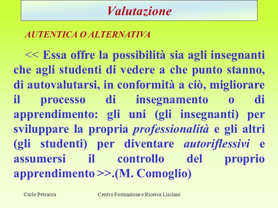 Centro Formazione e Ricerca Lisciani Valutazione AUTENTICA O ALTERNATIVA >.(M. Comoglio) Carlo Petracca