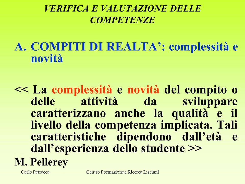 VERIFICA E VALUTAZIONE DELLE COMPETENZE A.COMPITI DI REALTA': complessità e novità > M. Pellerey Centro Formazione e Ricerca LiscianiCarlo Petracca