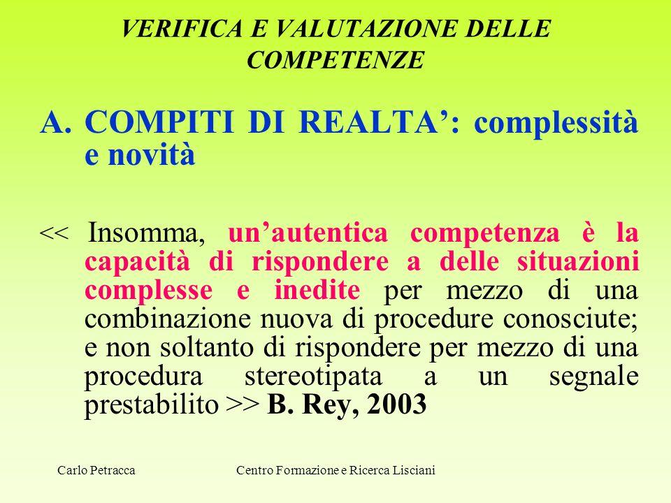 VERIFICA E VALUTAZIONE DELLE COMPETENZE A.COMPITI DI REALTA': complessità e novità > B. Rey, 2003 Centro Formazione e Ricerca LiscianiCarlo Petracca