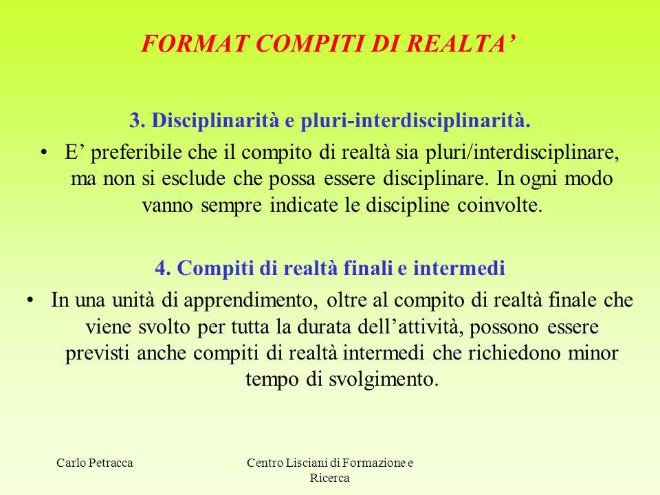 FORMAT COMPITI DI REALTA' 3. Disciplinarità e pluri-interdisciplinarità. E' preferibile che il compito di realtà sia pluri/interdisciplinare, ma non s