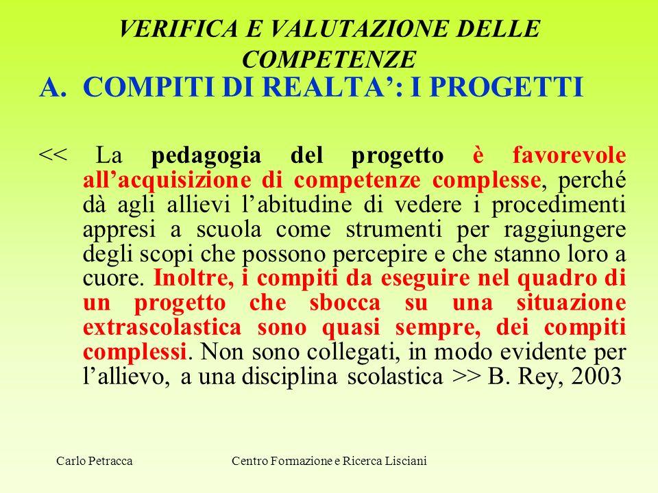 VERIFICA E VALUTAZIONE DELLE COMPETENZE A.COMPITI DI REALTA': I PROGETTI > B. Rey, 2003 Centro Formazione e Ricerca LiscianiCarlo Petracca