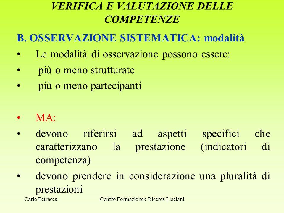 VERIFICA E VALUTAZIONE DELLE COMPETENZE B. OSSERVAZIONE SISTEMATICA: modalità Le modalità di osservazione possono essere: più o meno strutturate più o