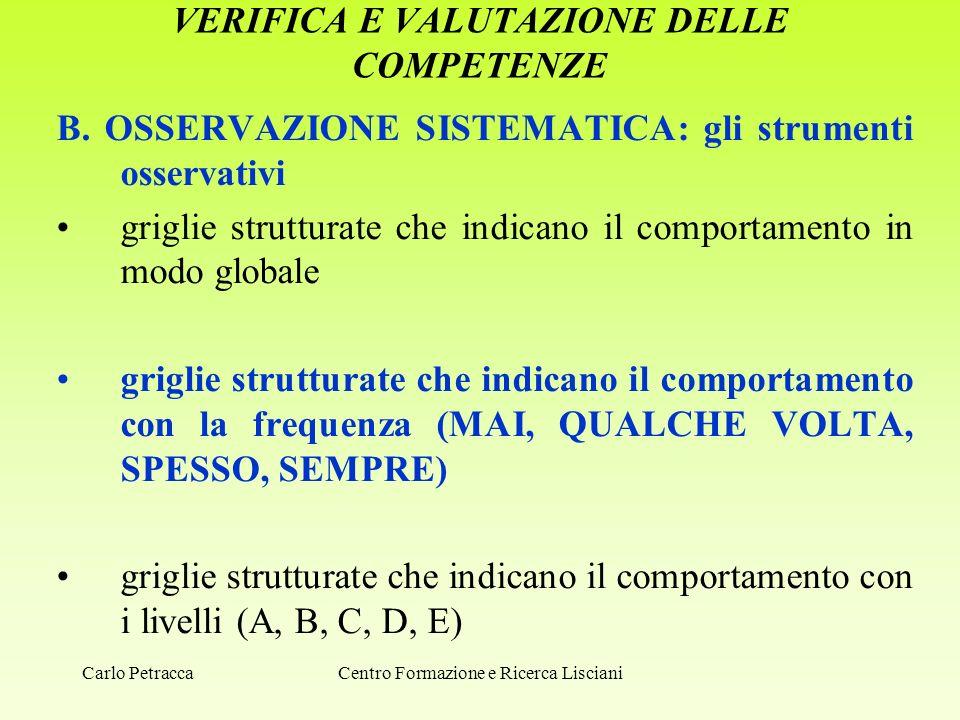 VERIFICA E VALUTAZIONE DELLE COMPETENZE B. OSSERVAZIONE SISTEMATICA: gli strumenti osservativi griglie strutturate che indicano il comportamento in mo