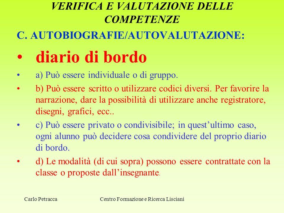 VERIFICA E VALUTAZIONE DELLE COMPETENZE C. AUTOBIOGRAFIE/AUTOVALUTAZIONE: diario di bordo a) Può essere individuale o di gruppo. b) Può essere scritto