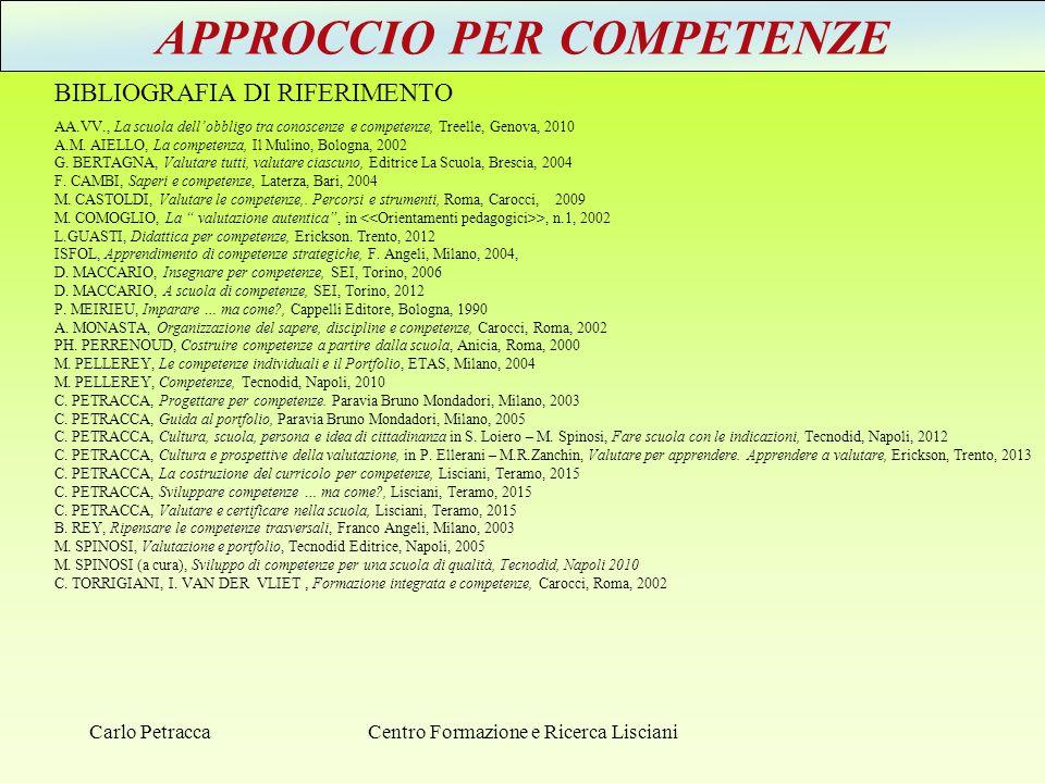 APPROCCIO PER COMPETENZE BIBLIOGRAFIA DI RIFERIMENTO AA.VV., La scuola dell'obbligo tra conoscenze e competenze, Treelle, Genova, 2010 A.M. AIELLO, La