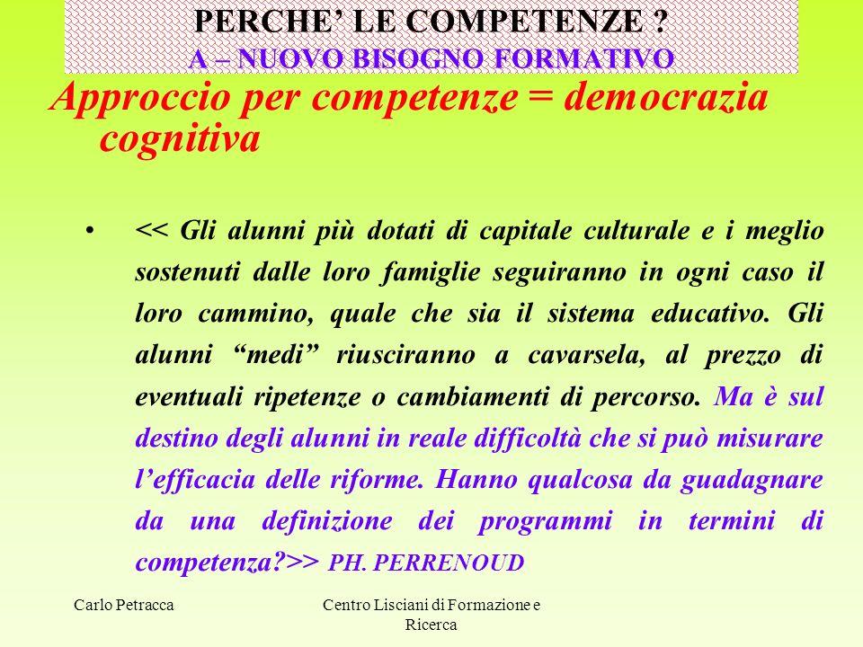 Carlo Petracca Approccio per competenze = democrazia cognitiva > PH. PERRENOUD PERCHE' LE COMPETENZE ? A – NUOVO BISOGNO FORMATIVO Centro Lisciani di