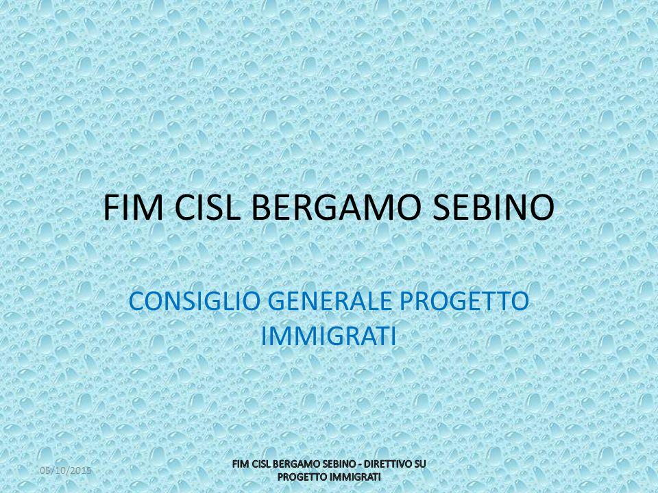 FIM CISL BERGAMO SEBINO CONSIGLIO GENERALE PROGETTO IMMIGRATI 05/10/2015