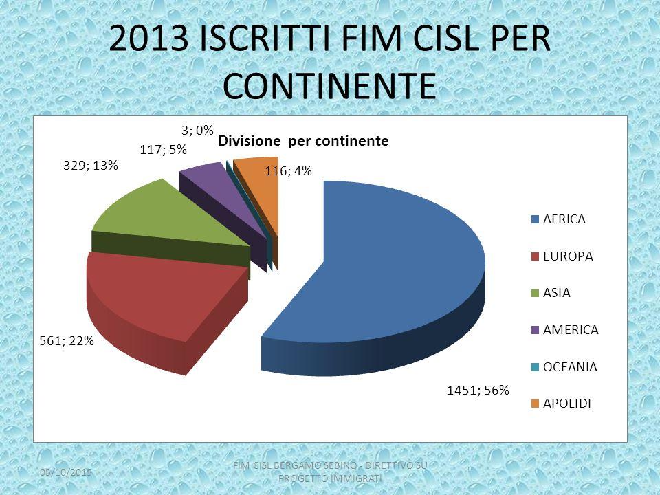 2013 ISCRITTI FIM CISL PER CONTINENTE 05/10/2015 FIM CISL BERGAMO SEBINO - DIRETTIVO SU PROGETTO IMMIGRATI