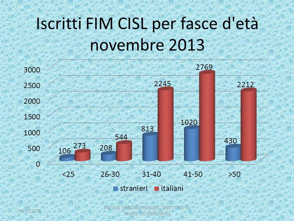 Iscritti FIM CISL per fasce d età novembre 2013 05/10/2015 FIM CISL BERGAMO SEBINO - DIRETTIVO SU PROGETTO IMMIGRATI
