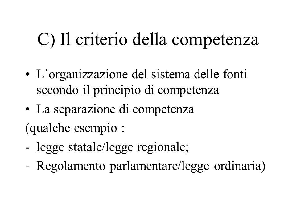 C) Il criterio della competenza L'organizzazione del sistema delle fonti secondo il principio di competenza La separazione di competenza (qualche esem