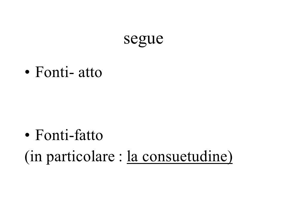segue Fonti- atto Fonti-fatto (in particolare : la consuetudine)