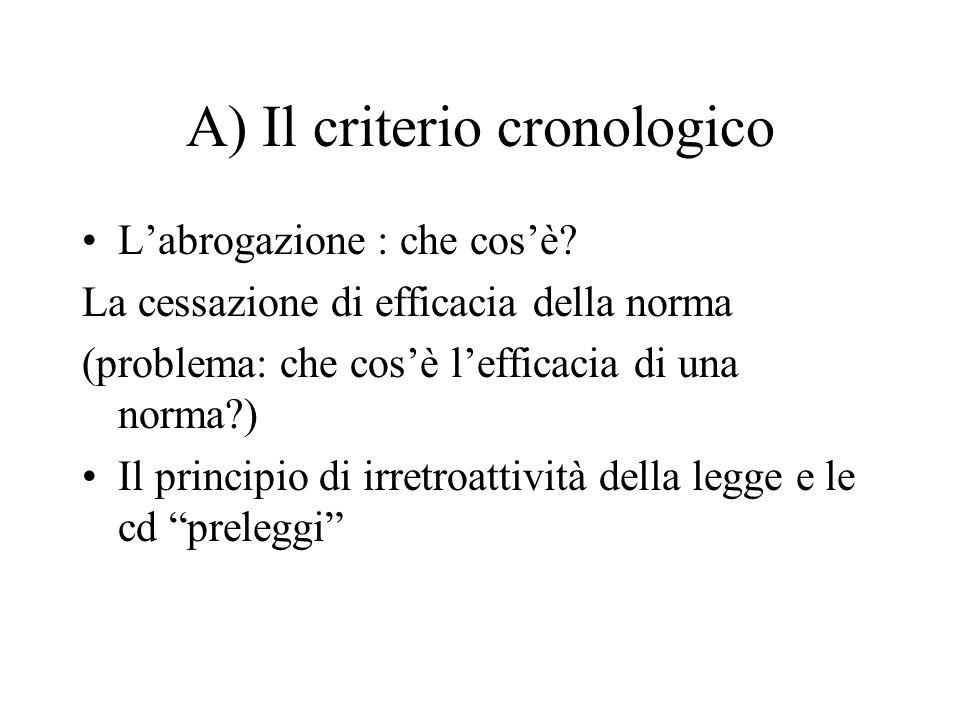 A) Il criterio cronologico L'abrogazione : che cos'è? La cessazione di efficacia della norma (problema: che cos'è l'efficacia di una norma?) Il princi