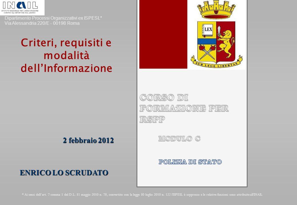 Dipartimento Processi Organizzativi ex ISPESL* Via Alessandria 220/E - 00198 Roma * Ai sensi dell'art.