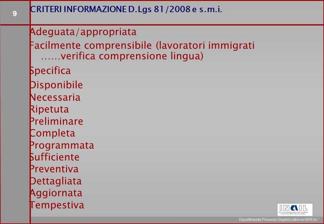 9 Dipartimento Processi Organizzativi ex ISPESL* CRITERI INFORMAZIONE D.Lgs 81/2008 e s.m.i.
