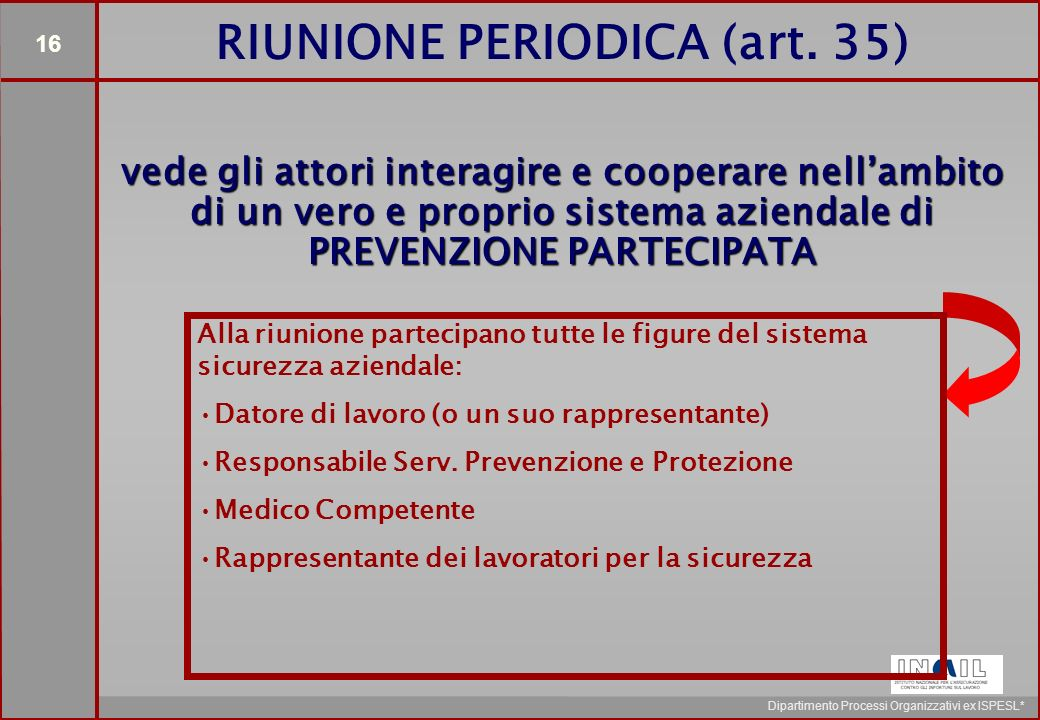16 Dipartimento Processi Organizzativi ex ISPESL* RIUNIONE PERIODICA (art.