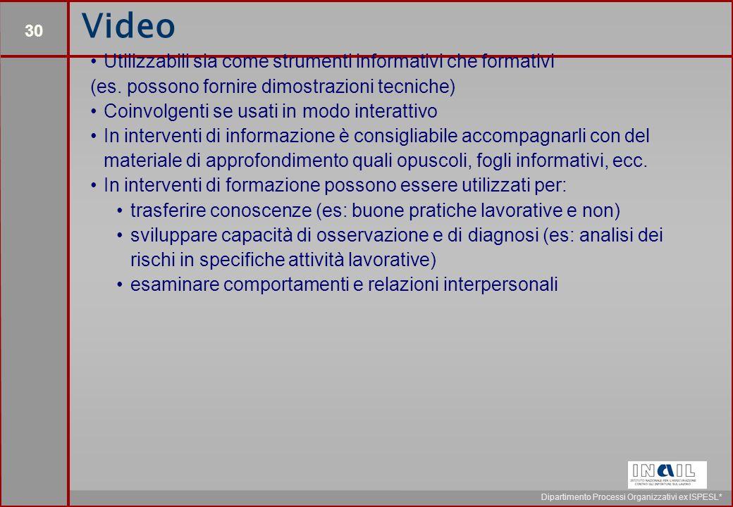 30 Dipartimento Processi Organizzativi ex ISPESL* Video Utilizzabili sia come strumenti informativi che formativi (es.