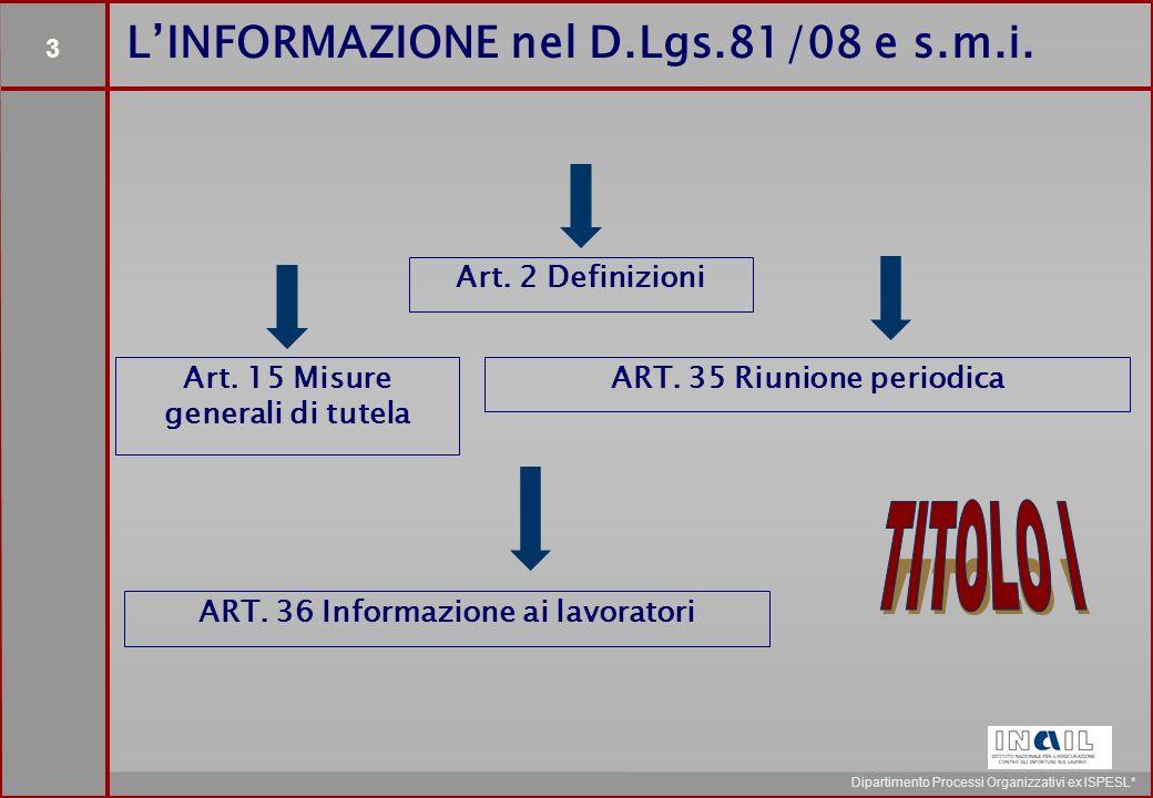 3 Dipartimento Processi Organizzativi ex ISPESL* Art.