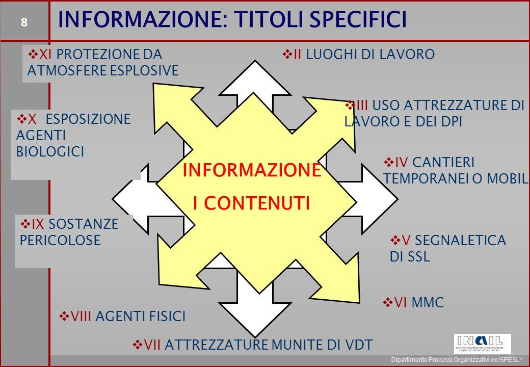 8 Dipartimento Processi Organizzativi ex ISPESL* INFORMAZIONE: TITOLI SPECIFICI INFORMAZIONE I CONTENUTI   II LUOGHI DI LAVORO   III USO ATTREZZATURE DI LAVORO E DEI DPI   IV CANTIERI TEMPORANEI O MOBILI   V SEGNALETICA DI SSL   VI MMC   VII ATTREZZATURE MUNITE DI VDT   VIII AGENTI FISICI   IX SOSTANZE PERICOLOSE   X ESPOSIZIONE AGENTI BIOLOGICI   XI PROTEZIONE DA ATMOSFERE ESPLOSIVE