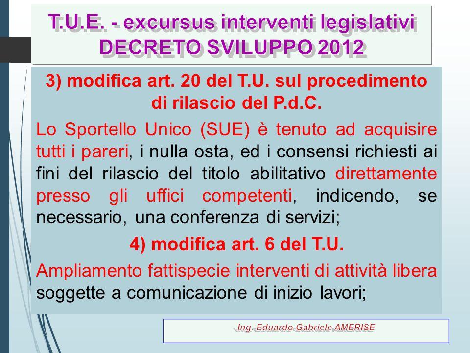 12 3) modifica art. 20 del T.U. sul procedimento di rilascio del P.d.C. Lo Sportello Unico (SUE) è tenuto ad acquisire tutti i pareri, i nulla osta, e