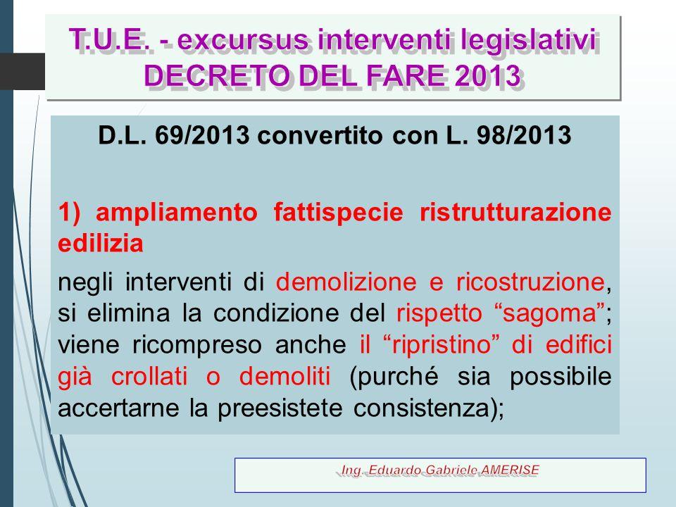 13 D.L. 69/2013 convertito con L. 98/2013 1) ampliamento fattispecie ristrutturazione edilizia negli interventi di demolizione e ricostruzione, si eli