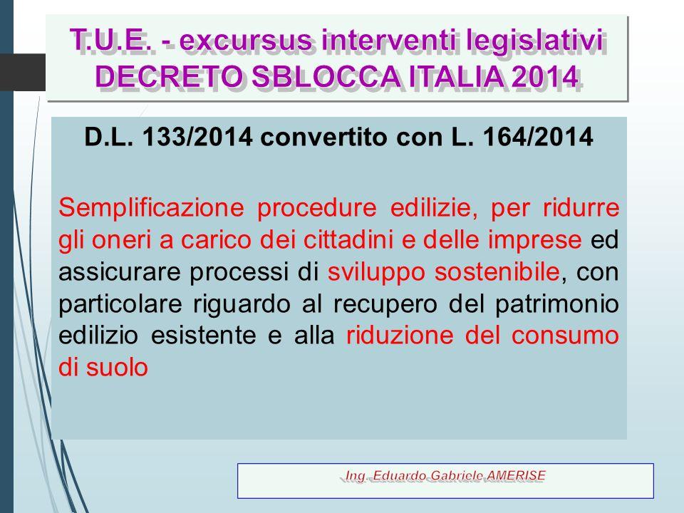 22 D.L. 133/2014 convertito con L. 164/2014 Semplificazione procedure edilizie, per ridurre gli oneri a carico dei cittadini e delle imprese ed assicu