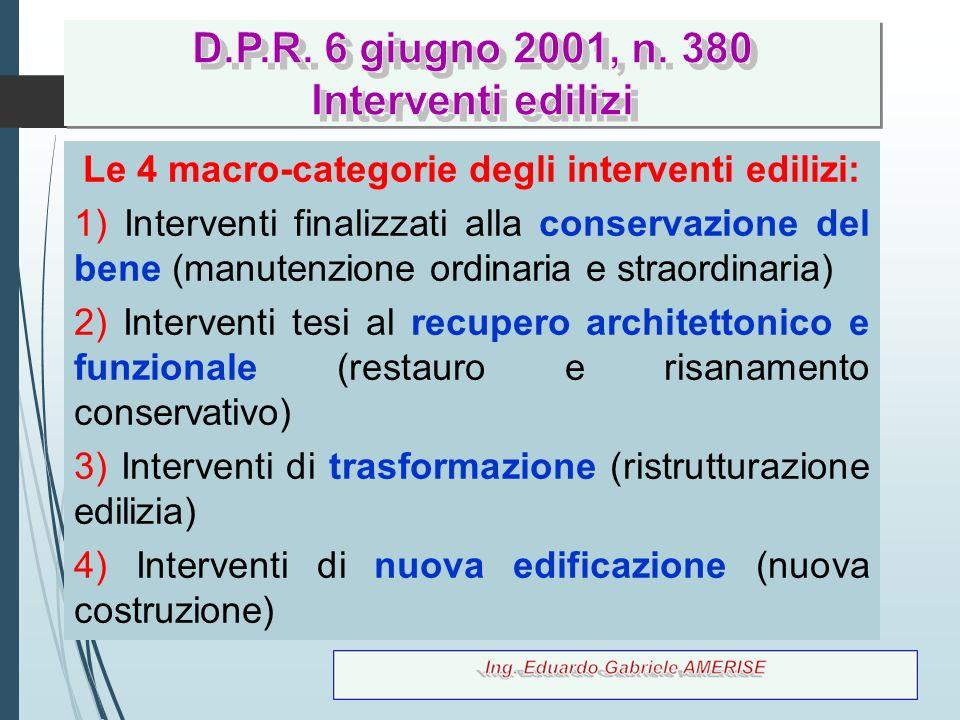 29 Le 4 macro-categorie degli interventi edilizi: 1) Interventi finalizzati alla conservazione del bene (manutenzione ordinaria e straordinaria) 2) In
