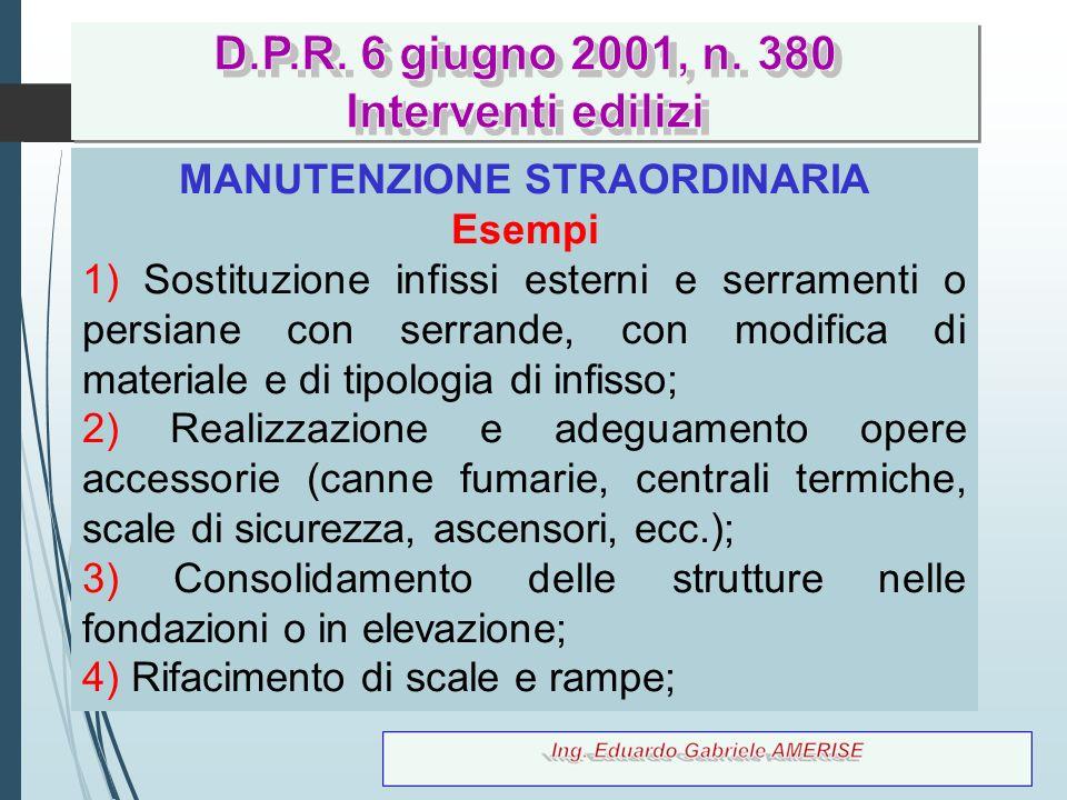 38 MANUTENZIONE STRAORDINARIA Esempi 1) Sostituzione infissi esterni e serramenti o persiane con serrande, con modifica di materiale e di tipologia di