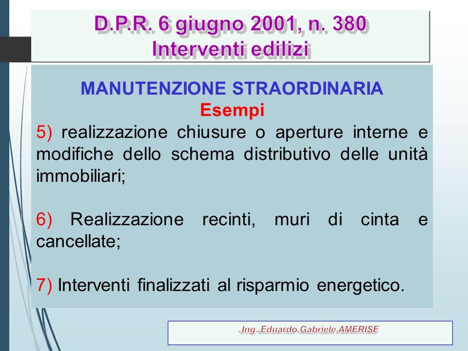 39 MANUTENZIONE STRAORDINARIA Esempi 5) realizzazione chiusure o aperture interne e modifiche dello schema distributivo delle unità immobiliari; 6) Re