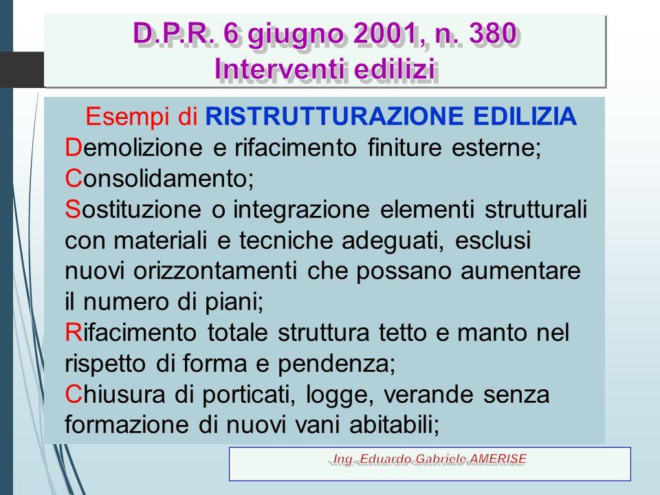50 Esempi di RISTRUTTURAZIONE EDILIZIA Demolizione e rifacimento finiture esterne; Consolidamento; Sostituzione o integrazione elementi strutturali co