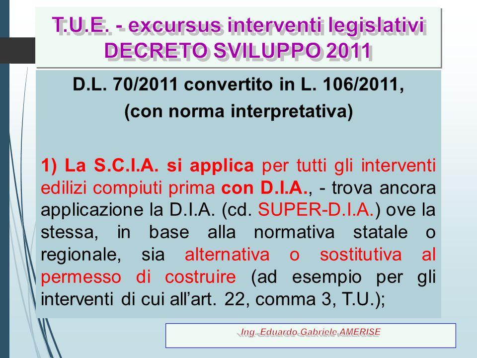 6 D.L. 70/2011 convertito in L. 106/2011, (con norma interpretativa) 1) La S.C.I.A. si applica per tutti gli interventi edilizi compiuti prima con D.I