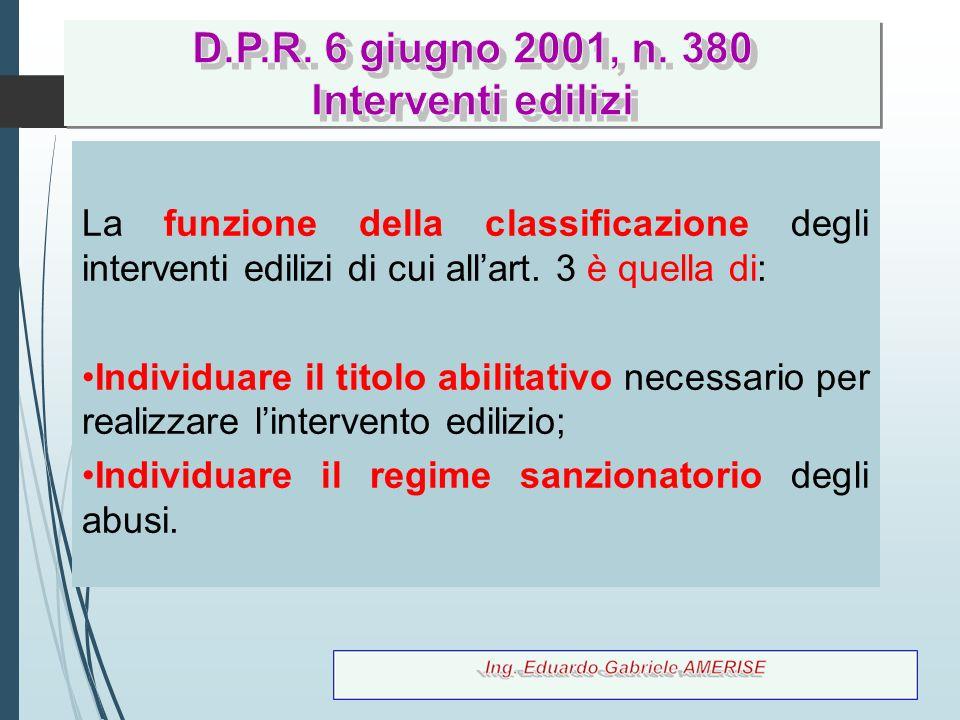 61 La funzione della classificazione degli interventi edilizi di cui all'art. 3 è quella di: Individuare il titolo abilitativo necessario per realizza
