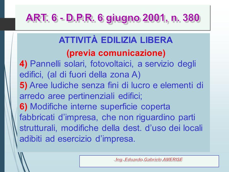 67 ATTIVITÀ EDILIZIA LIBERA (previa comunicazione) 4) Pannelli solari, fotovoltaici, a servizio degli edifici, (al di fuori della zona A) 5) Aree ludi