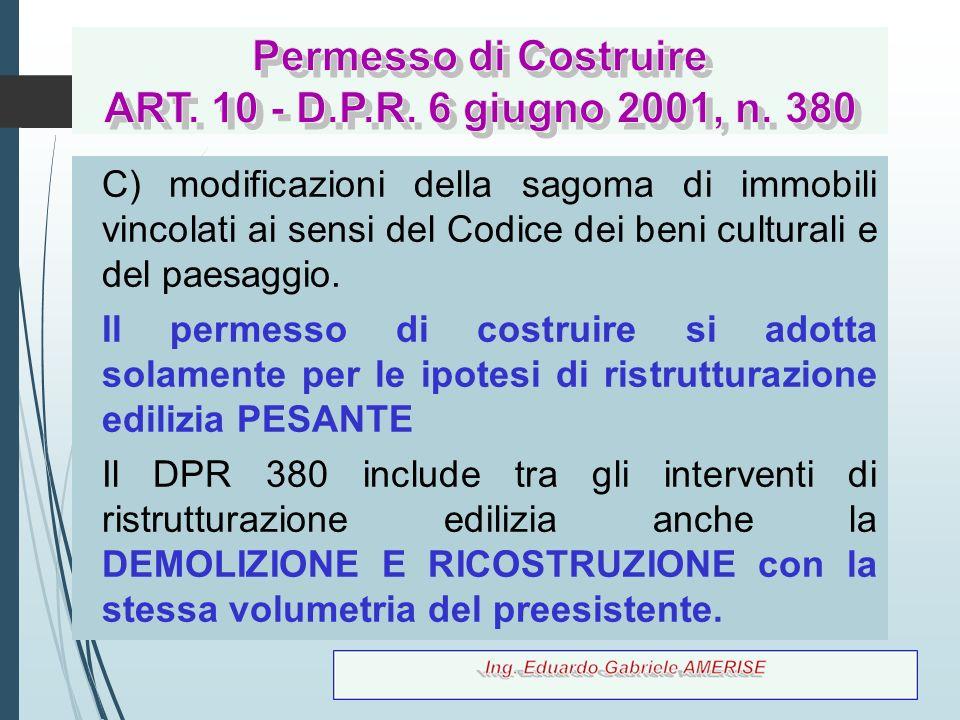 73 C) modificazioni della sagoma di immobili vincolati ai sensi del Codice dei beni culturali e del paesaggio. Il permesso di costruire si adotta sola